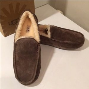 🎁New Ascot Espresso moccasin Suede slippers Sz 18